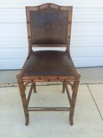 """Frontgate New Haven Counter BAR Height Chair Leather Barstool Wood Stool 30"""""""
