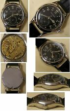 Jeager Le Coultre Military watch serviced leather strap ca 1930s COLLECTABLE