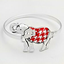 Womens Houndstooth Silver Red Lucky Elephant Bangle Bracelet