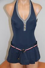 NWT Tommy Hilfiger Swimsuit 1 one piece Size 12 Swimdress Halter Core Navy
