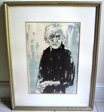 "MOSHE GAT Rare Lithograph ""Old Woman"" Signed in pencil, #64/150"