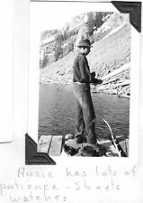 VINTAGE PHOTOGRAPH 1937 STONY LAKE MONTANA FORESTERY MAN FISHING TRIP DOG PHOTO