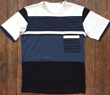 LEMAIRE x UNIQLO 'Supima Cotton' Striped Pocket SS T-Shirt Men's SMALL Blue NWT!