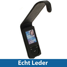 Schwarz Echt Leder Tasche für Sony Walkman NWZ-E574 NWZ-E575 NWZ-E574B NWZ-E575