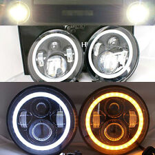 "2x 7"" LED Halo Headlights Flash AMBER For MQ Y60 Nissan Patrol GQ Ford Maverick"