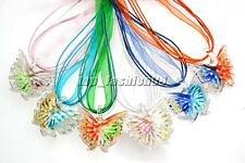 FREE Wholesale 6Pcs 3D Flower Butterfly Crystal Glass Bead Pendant Silk Necklace
