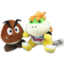2pcs Super Mario Brothers Goomba and Bowser Jr. Koopa Stuffed Plush Doll Toy