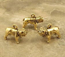 3 Gold Tone Pewter Charms - BULLDOG -  5191