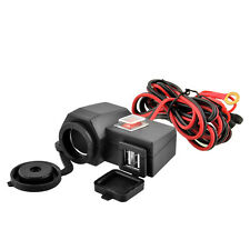 Motorcycle 12V GPS Cigarette Lighter Dual USB Power Socket Charger Waterproof