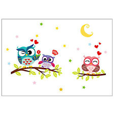Owl Cartoon Animal Tree Kids Nursery Bedroom Wallpaper Sticker Decal DIY Decor