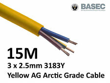15M Arctic Yellow 3183Y Flex Cable 3core x 2.5mm Outdoor Construction Artic