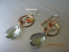 ALEXIS BITTAR NWT GOLD EARRING WITH YELLOW & PINK STONES AND GREEN STONE DROP