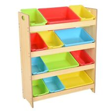Kids Toy Organizer Storage Shelf 12 Removable Bins Box Playroom Children Wood