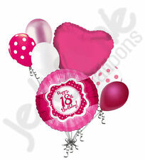 7 pc Happy 18th Birthday Hot Pink & Dots Balloon Bouquet Eighteen Ribbon & Lace