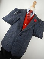 Vtg Mens Blue Harris Tweed Country Hacking Jacket Blazer Chest Size 38""