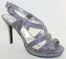 Nina Geilina Womens Silver Satin Open Toe Strappy Evening Shoes Heels Size 8 NWD