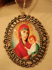 Lovely Swirl Rim Goldtone Red & Golden Madonna & Child Cameo Necklace Brooch Pin