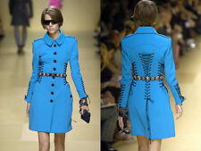BURBERRY PRORSUM Blue Neoprene Lace Up Corset Bondage Trench Coat  IT 40  US 6