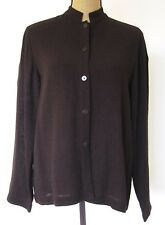 EILEEN FISHER brown viscose/linen CREPE JACKET TOP S Ladies