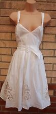 WAREHOUSE WHITE CROCHET TRIM MESH BELTED SKATER FLIPPY A LINE MARILYN DRESS 12 M