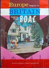BOAC EUROPE BEGINS IN BRITAIN Vintage 1961 Travel Airlines poster 20x30