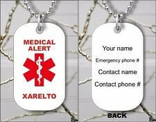 MEDICAL ALERT XARELTO PERSONALIZED DOG TAG PENDANT NECKLACE - dfs3Z