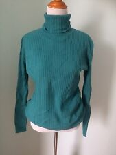 Autumn Cashmere 100% Cashmere Ribbed Long Sweater Teal Green Large Turtleneck