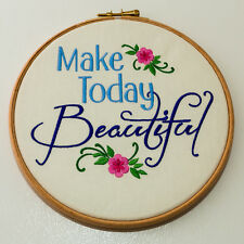"""Make Today Beautiful - Wall hanging in 7"""" wooden hoop."""
