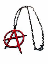 Big ANARCHY Red A in Circle Necklace Pendant with Black Link Chain