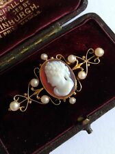 Fine Victorian 15ct Gold Hardstone Agate Cameo & Seed Pearl Set Brooch