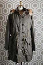 NWT Tory Burch Dylen Fur-Trimmed Anorak Coat Large L $895 Waxed Green