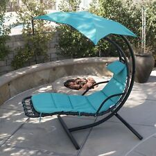 Hanging Chaise Lounge Chair Umbrella Patio Furniture Pool Lounger Hammock Blue