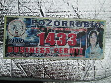 Philippines POZORRUBIO BUSINESS PERMIT 2009 (1433)METAL LICENSE PLATE - USED