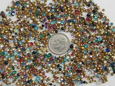 900 HUGE LOT TINY VTG GLASS RHINESTONES COLORED AB CLEAR AUSTRIA CZECH PRECIOSA