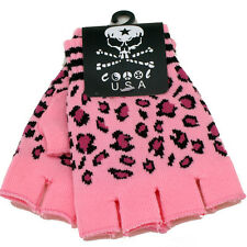 New Fingerless Pink Leopard Gloves GOTH WARMER