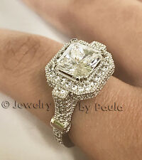 3.0 Ct Princess Cut Diamond 14K Solid White Gold Engagement Ring size 5  6 7 8 9