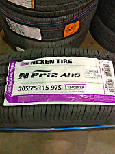 4 New 205 75 15 Nexen N'Priz AH5 White Wall Tires