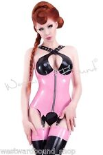 R847 Rubber Latex Westward Bound Corset with suspenders SIZE 12 BLK/VIB PINK
