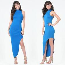 BEBE BLUE MOCK NECK ASYMMETRIC MAXI DRESS NEW NWT XSMALL XS