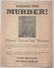 Cotton Top Mounts Wanted Poster, Hatfields McCoys