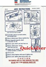 1969 Dodge Coronet Super Bee & R/T Jacking Instructions Trunk Lid Decal 2856101