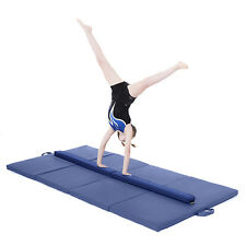 Blue Large 8ft Gymnastics Folding Balance Beam 2.4M Faux Leather Gym Training