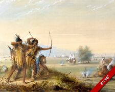NATIVE AMERICAN INDIAN INDIANS SHOOTING BOW ARROW PAINTING ART REAL CANVAS PRINT
