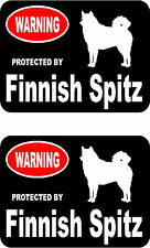 2 protected by Finnish Spitz dog home car bumper window vinyl decals stickers