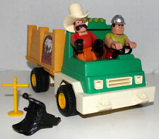 FISHER PRICE HUSKY LITTLE PEOPLE W/TRUCK & SADDLE GREAT