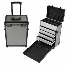 Pro Rolling Jewelry Makeup Case w/ Drawers Code Lock Aluminum Portable Display
