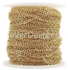 Cable Chain Spool - 100 Feet - Champagne Gold Color - 2x3mm Link - Bulk Rolo