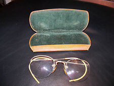 Antique Shuron 1/10 12k GF Gold Filled 1/2 Frame Rimless Eyeglasses w Case