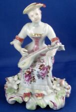 Rare 18thC Derby Porcelain Early Lady Musician Figurine Figure English England
