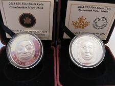 2013/14 $25 Grandmother and Matriarch Moon Masks Fine Silver coins